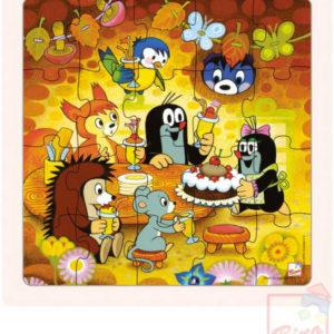 BINO DŘEVO Baby puzzle Krtek v rámečku 17x17cm paní Krtečková a dort 20 dílků