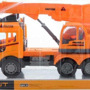 Autojeřáb oranžový pracovní auto 28cm na setrvačník plast