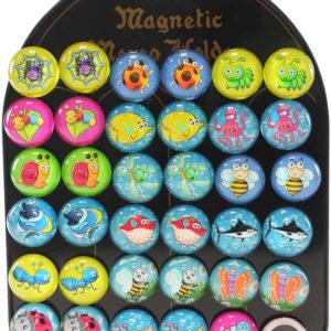 Magnetky dětské kulaté veselá zvířátka samostatné 3,5cm různé druhy