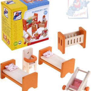 WOODY DŘEVO Set nábytek dětský pokojíček do domečku 90813 pro panenky