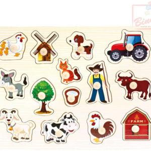 BINO DŘEVO Baby puzzle farma 14 dílků vkládačka pro miminko