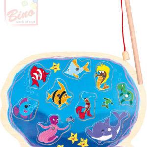 BINO DŘEVO Baby puzzle vkládačka magnetické akvárium set s prutem