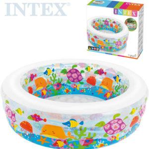 INTEX Bazén dětský akvárium kulatý 152x56cm vysoký nafukovací rybky