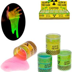 Sliz radioaktivní svítí ve tmě fosforeskující v barelu 4 barvy