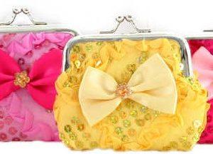Peněženka malá dětská holčičí mašle 9cm zdobená s glitry 6 barev