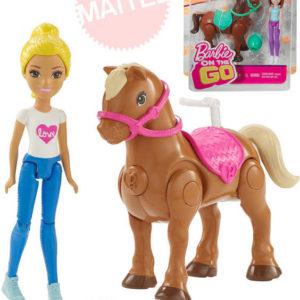 MATTEL BRB Barbie On The Go mini panenka kloubová set s koníkem chodí
