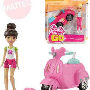 MATTEL BRB Barbie On The Go mini panenka kloubová set s vozítkem jezdí