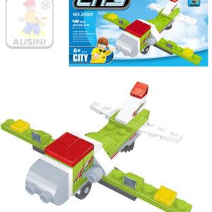 AUSINI Stavebnice MĚSTO Letadlo sada 48 dílků + 1 figurka s doplňky plast