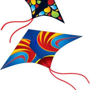 Drak létající barevný 114x61cm plastový s navijákem 2 barvy
