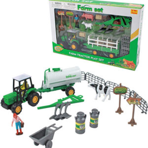 Farma herní set traktor s vlečkou s figurkami a doplňky plast 2 druhy v krabici