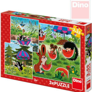 DINO Puzzle Krtek a paraplíčko (Krteček) 18x18cm 3v1 skládačka 3x55 dílků