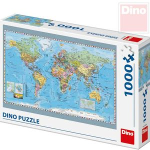 DINO Puzzle 1000 dílků Politická mapa světa 66x47cm skládačka v krabici