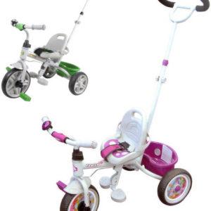 Tříkolka pro menší děti s vodící tyčí bílo růžová / zelená