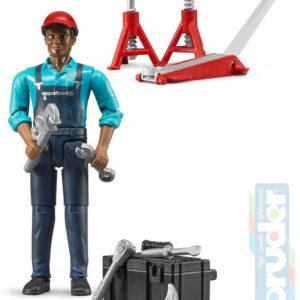 BRUDER 62100 Figurka mechanik 11cm tmavá pleť set s doplňky plast