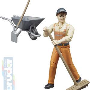 BRUDER 62130 Figurka komunální pracovník 11cm set s kolečky a nářadím plast
