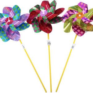 Větrník klasický růžice metalický s tečkami plastová tyčka 3 barvy A17
