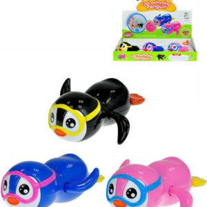 Tučňák s brýlemi 13cm plavací na klíček do vody plast 3 barvy