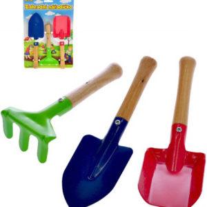 Nářadí zahradní dětské 20cm dřevo+kov set 3ks na kartě