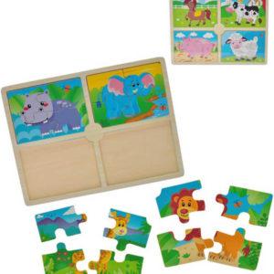 DŘEVO Baby puzzle zvířátka 4v1 velké dílky 2 druhy *DŘEVĚNÉ HRAČKY*