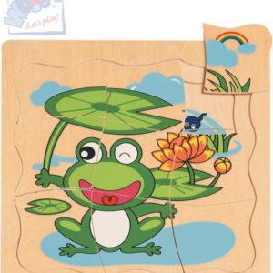 WOODY DŘEVO Puzzle naučné vývoj žáby 4 vrstvy 4 obrázky 4v1 na desce