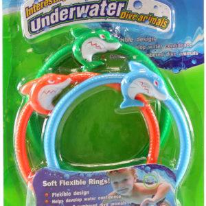 Kroužky barevné na potápění 14cm se žralokem set 3ks s čísly do vody plast