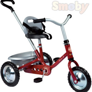 SMOBY Baby tříkolka Zooky červená kovová s rodičovským madlem
