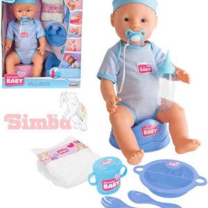 SIMBA New Born Baby panenka miminko chlapeček 43cm pije čůrá set s doplňky