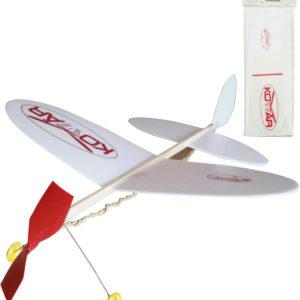 Letadlo Komár na gumu retro soft model polystyren/dřevo 38x31cm v sáčku