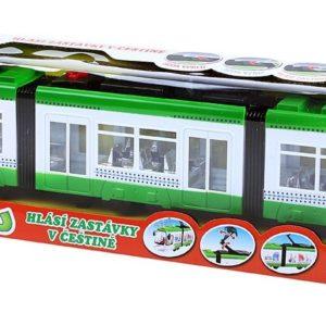 Tramvaj zelená česká verze 46cm hlásí zastávky na baterie CZ Světlo Zvuk