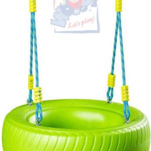 WOODY Dětská houpačka závěsná houpací pneumatika zelená plastová