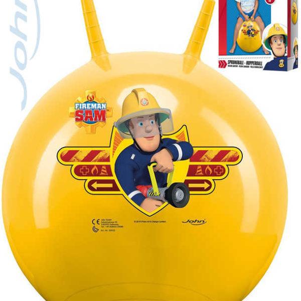JOHN Míč skákací Požárník Sam 50cm žluté dětské hopsadlo s držadly