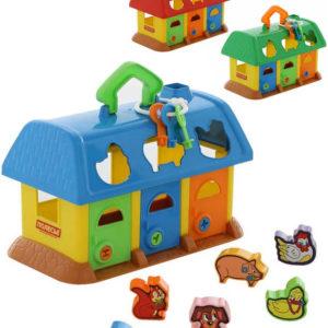 Baby domeček didaktický pro zvířátka vkládací set s klíčky 3 barvy plast