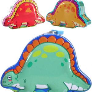 Pokladnička dinosaurus set se 2 klíčky plechová kasička kov 3 druhy