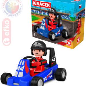 EFKO IGRÁČEK Závodník s motokárou 7,5cm modrá v krabičce STAVEBNICE