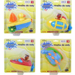 Zvířátko/loď na natažení plastová hračka do vody 4 druhy na kartě