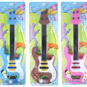 Kytara plastová 44,5 cm HUDEBNÍ NÁSTROJ na kartě 3 barvy