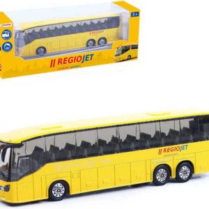 Autobus RegioJet žlutý 18,5cm zpětný nátah kovový v krabici
