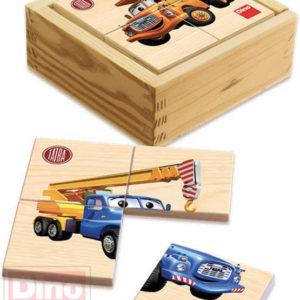 DINO DŘEVO První puzzle Tatra 6x4 dílků 9x9cm v krabičce DŘEVĚNÉ HRAČKY