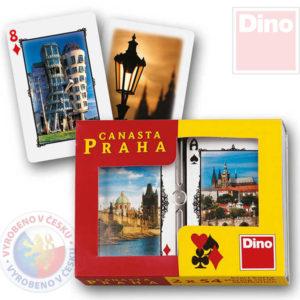 DINO Hra karty Canasta s fotkami Praha v krabičce *SPOLEČENSKÉ HRY*