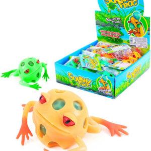 Žába míček antistresový 5,5cm měkký mačkací s kuličkami 2 barvy