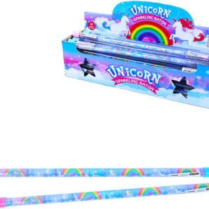 Hůlka kouzelná jednorožec s třpytkami 46cm 2 barvy