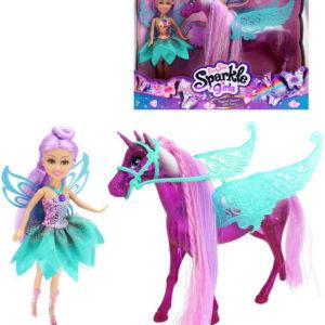 Sparkle Girlz Set koník jednorožec + panenka motýlí víla na baterie Světlo