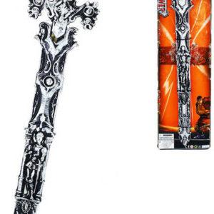 Meč dětský rytířský 62cm stříbrný zdobený v pouzdrře plast na kartě