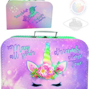 KAZETO Kufr Jednorožec velký kufřík lepenkový pro holky