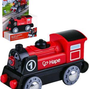 HAPE Mašinka lokomotiva elektrická plastová 18cm na baterie Světlo