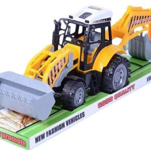 Traktor stavební auto 50cm nakladač přední + zadní lžíce bagr plast