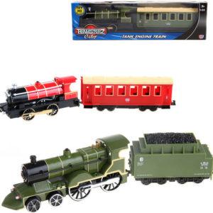 Teamsterz vlak historický set lokomotiva + vagon 1:55 na baterie kov Světlo Zvuk