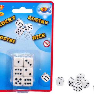 HRA Kostky hrací bílé 16mm set 6ks na kartě plast *SPOLEČENSKÉ HRY*