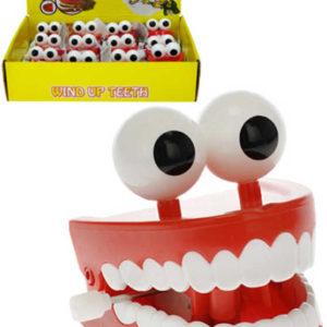Zuby skákací s očima 7cm natahovací na klíček žertovinka plast