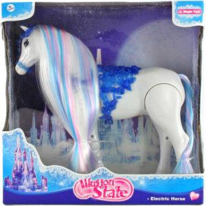 Kůň chodící na baterie 27cm dlouhá hříva zimní království Zvuk